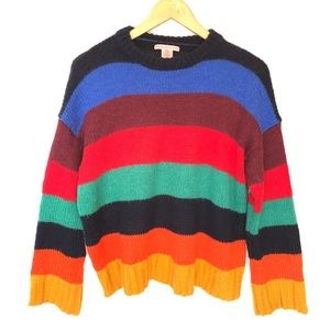 Urban Outfitters Kari Rainbow Stripe Sweater S